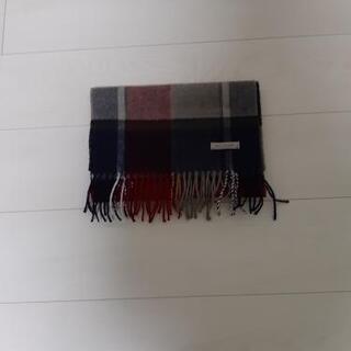マフラー 赤×紺 美品