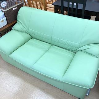 二人掛けソファ☆ミントグリーン☆春らしい淡い緑色のソファー…