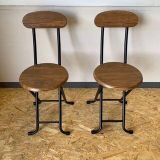 丸椅子 チェア 椅子 イス 折りたたみ式 ウッド 家具 インテリア 2脚の画像