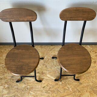 丸椅子 チェア 椅子 イス 折りたたみ式 ウッド 家具 インテリア 2脚 - 富山市
