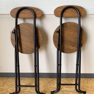 丸椅子 チェア 椅子 イス 折りたたみ式 ウッド 家具 インテリア 2脚 − 富山県