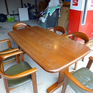 天然木ダイニングテーブル(6人掛け) 中古