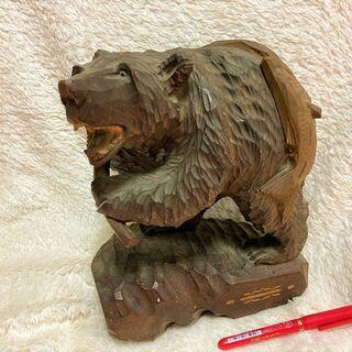 ★昭和レトロ!!高さ24㎝×横19㎝・シャケを担ぐ木彫りの…