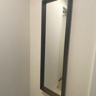全身鏡 ベルメゾン 設置簡単壁掛けミラー ダークブラウン