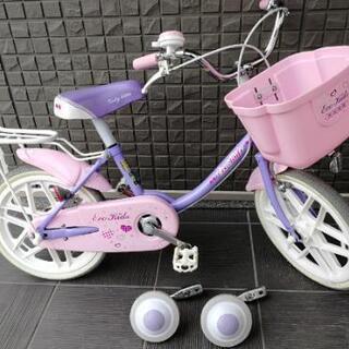 16㌅自転車(補助輪、ヘルメット付)女の子向け