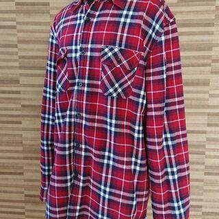 内側ボアで温かい★赤×紺チェックのシャツ/メンズLLサイズ