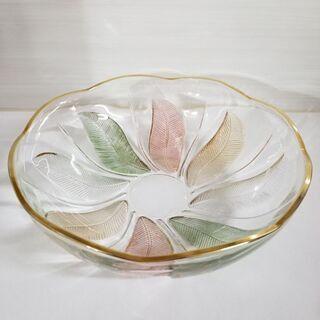 ガラス大皿 リーフ柄
