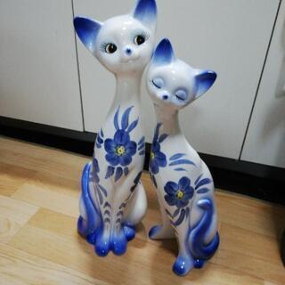 (2)(超美品)人気の寄り添い猫ペアー(大)の置物‼️超超…