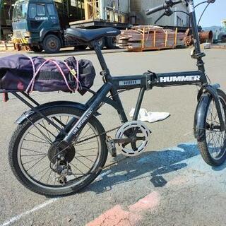 【ネット決済・配送可】HUMMERの折りたたみ自転車