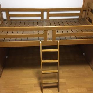 組み立て簡単木製ロフトベッド[ライトブラウン]