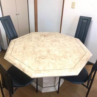 [値下げ中]大理石風 八角形 縁起 ダイニングテーブルセット
