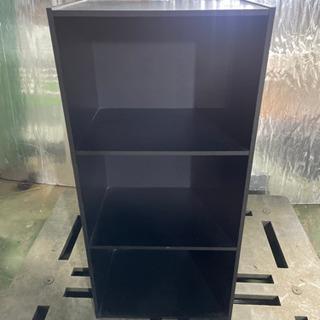 kj0222-9 カラーボックス 黒 三段