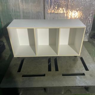 kj0222-25 横置きカラーボックス 三段 白 キャスター