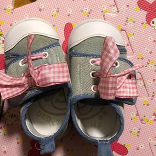 【ネット決済】子ども靴 ピンクの靴13.0㎝、リボンの靴14.0㎝
