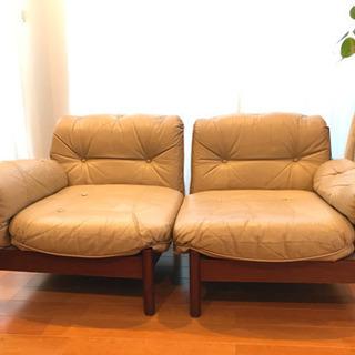 【春セール】ヴィンテージ:マルニ木工の本革ソファ
