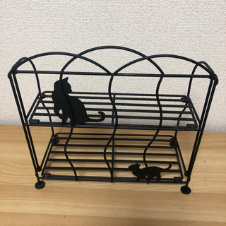 猫の調味料台黒