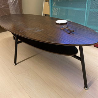 折りたたみローテーブル/木目調テーブルの画像