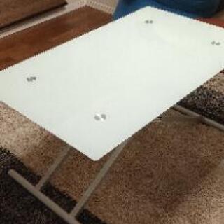 ニトリ ガラス 可動式 ガス式ガラス昇降テーブル 120㎝…