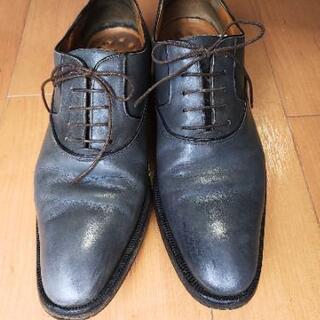 ★クリー厶付き★ 紳士靴 セルジオロッシ グレー 25.5cm