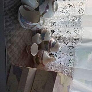 未使用品 ちぎり絵シリーズ 酒器、湯呑み茶碗