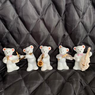 【ネット決済・配送可】陶器製 ベアマスコット 白くまの音楽隊