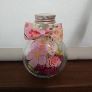 【ネット決済】春 桜と薔薇のボトルフラワー(ハーバリウム)