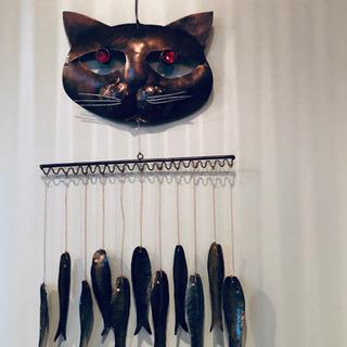 美品 縁起物 魚と猫 風鈴