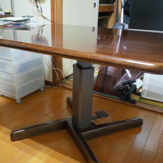 【天然木の天板】昇降式ダイニングテーブル