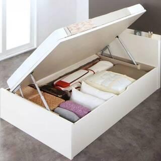 【1449】セミダブル大容量収納跳ね上げベッド(横開きタイプ)ホワイト