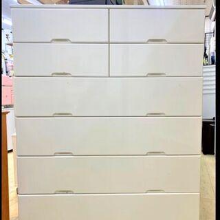 ★6段 ハイチェスト タンス 鏡面仕上げ 白 衣類収納 収納ケー...