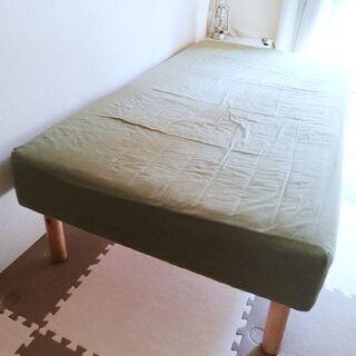 マットレス付きシングルベッド 180×100×30cm カバー付き