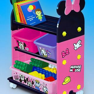 新品!ミニーマウス おもちゃ箱 キャスター ラック ディズ…