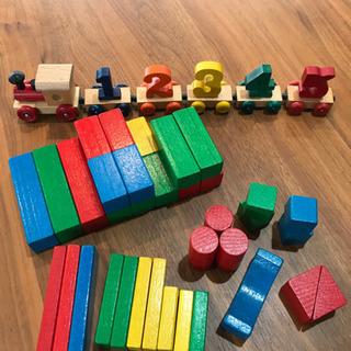木製汽車 積み木セット