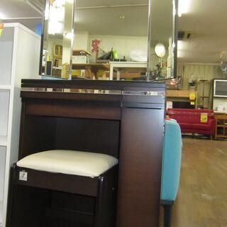 R233 NITORI 三面鏡ドレッサー 椅子セット、幅59cm 美品