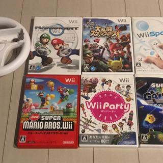 Wiiのソフト6本+マリオカート用ハンドル