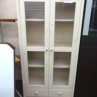 札幌 引き取り 木製×ガラス キャビネット/食器棚 カントリー調...