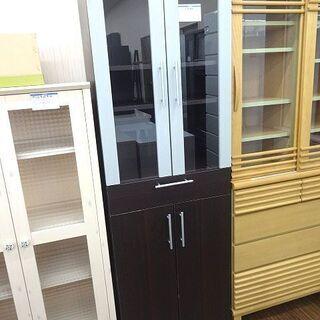 札幌 引き取り スリム食器棚 ブラウン系 キッチン収納 キャビネ...