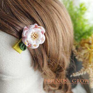 初めての髪飾りに♪桃の花ベビークリップ06