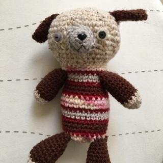 ハンドメイド 手作り編みぐるみ くま 20㎝ ロリィタ シュール