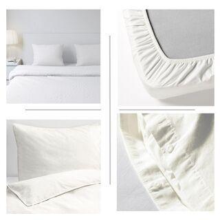 ダブルサイズ おまとめ 白 薄手掛け布団、掛け布団カバー、枕2、...
