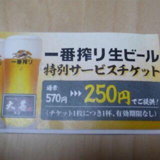 320円OFF 大甚本店(名古屋・伏見) 生ビール割引券