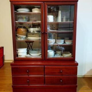 【ネット決済・配送可】【塗りが綺麗!】木製食器棚