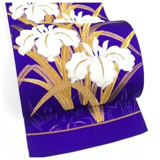 【ネット決済・配送可】 美品 上質 正絹 袋帯 青紫 未仕立て ...