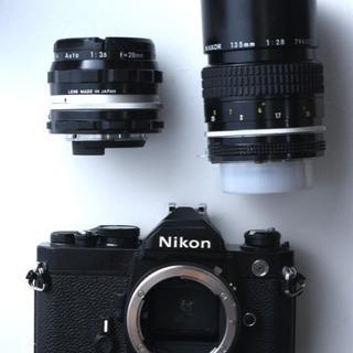 フィルムカメラ ニコン FM レンズ2本付き(28mm、135mm)