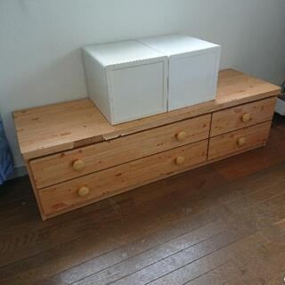 棚 大川家具 美品 収納4箇所 ベッド下やテレビ台にも