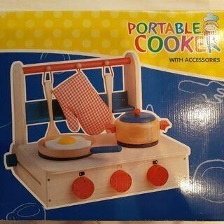 木のおもちゃ☆箱付きおままごとキッチンセット