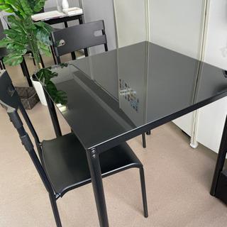 黒ガラステーブル 椅子 三点セット おしゃれ