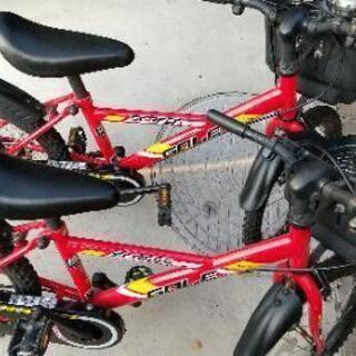 自転車 二台 お揃い 18インチ 双子 赤 ヘルメット プロテク...