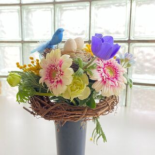 花束 イースターを楽しもう! 鳥の巣と春のお花たち