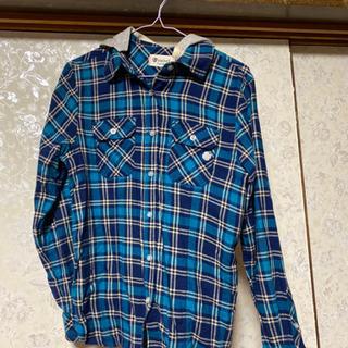 青色チェック柄 レディースシャツ